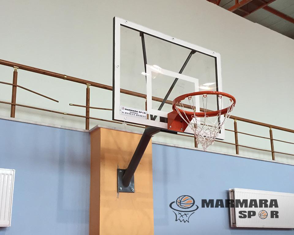 Sabit Tek Ayaklı Akrilik Cam Panyalı Basketbol Potası